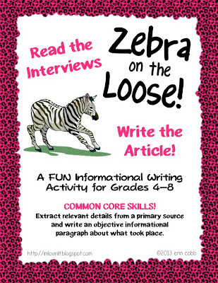 MONDAY FREEBIE! Zebra on the Loose – A Fun Informational Writing Activity