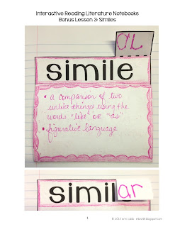 First Week's Lessons – Similes and Theme Trees