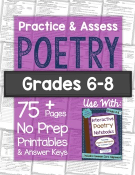 picture regarding Poetry Worksheets Printable called POETRY Worksheets Exams: Train Evaluate Poetry No Prep Printables