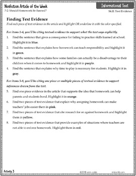 articles on homework issue