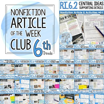 Article Of The Week Club 6th Grade Nonfiction Reading Comprehension Passages